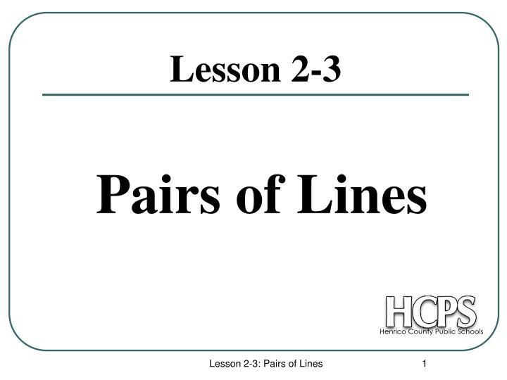 pairs of lines n.