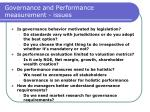 governance and performance measurement issues