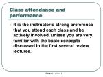 class attendance and performance