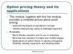 option pricing theory and its applications