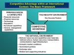 competitive advantage within an international context the basic framework