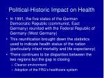 political historic impact on health