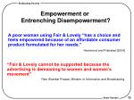 empowerment or entrenching disempowerment