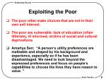 exploiting the poor