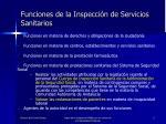 funciones de la inspecci n de servicios sanitarios