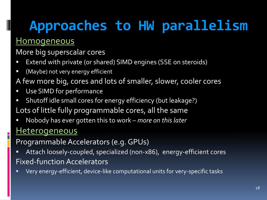 Approaches to HW parallelism