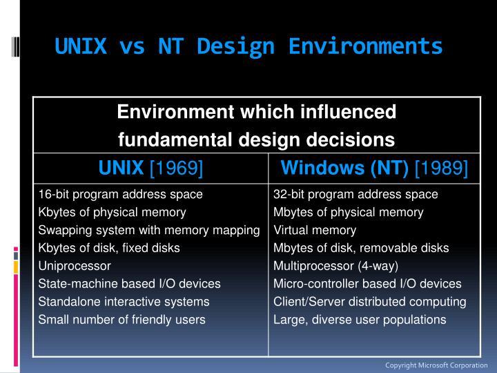 Unix vs nt design environments