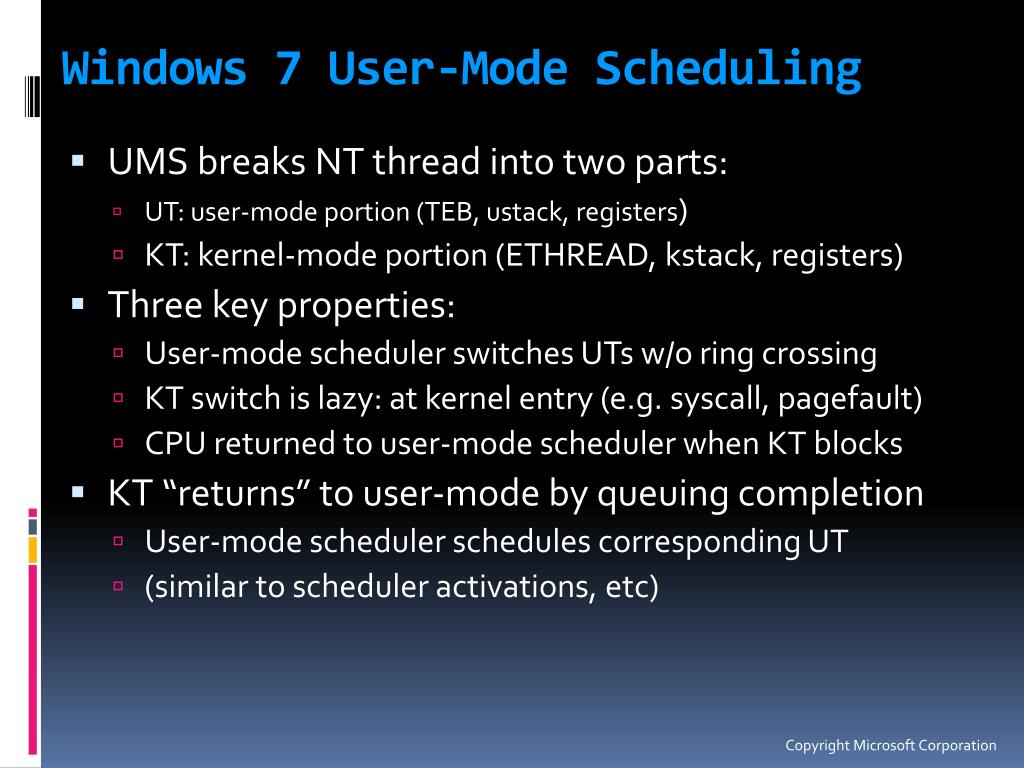 Windows 7 User-Mode Scheduling