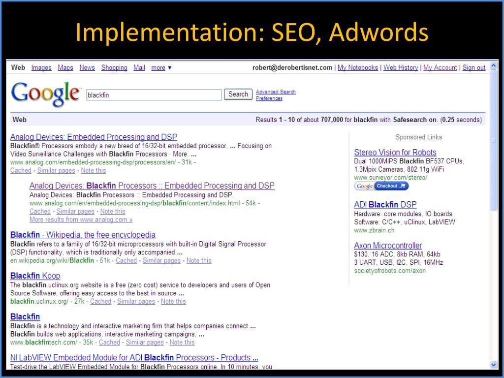 Implementation: SEO, Adwords