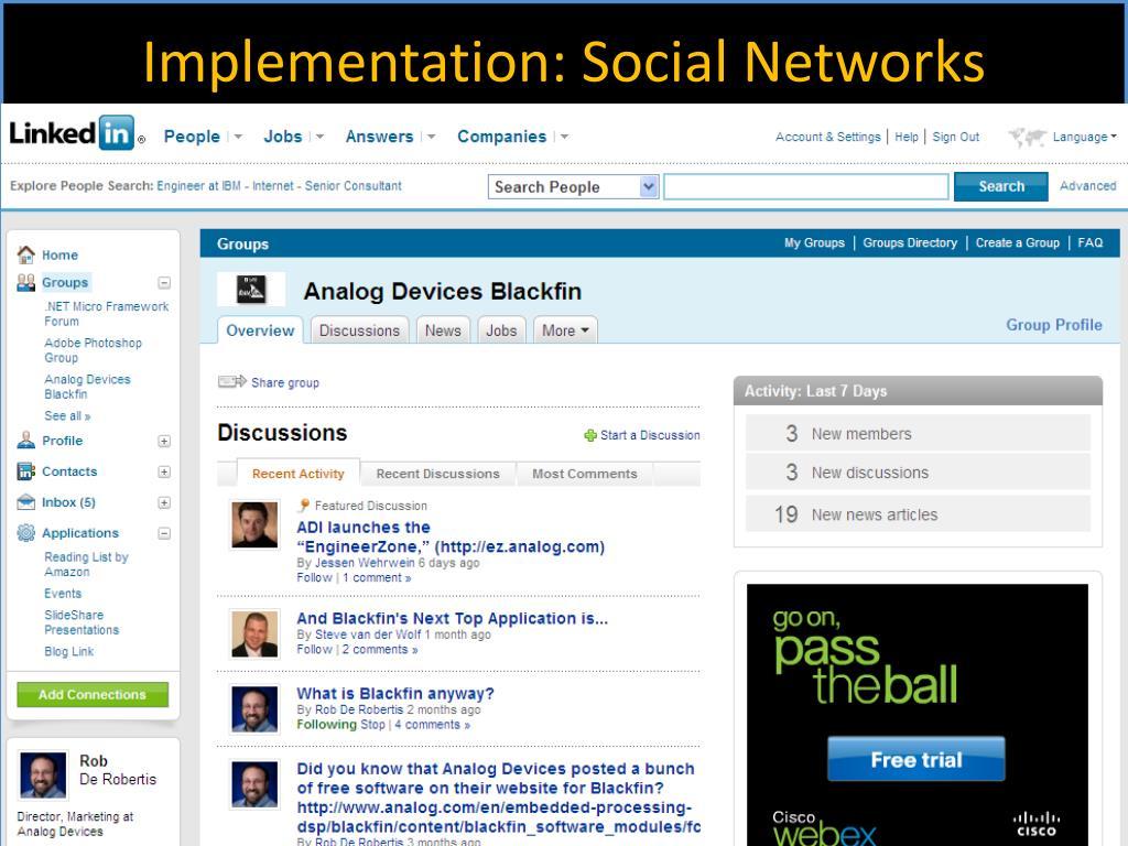 Implementation: Social Networks