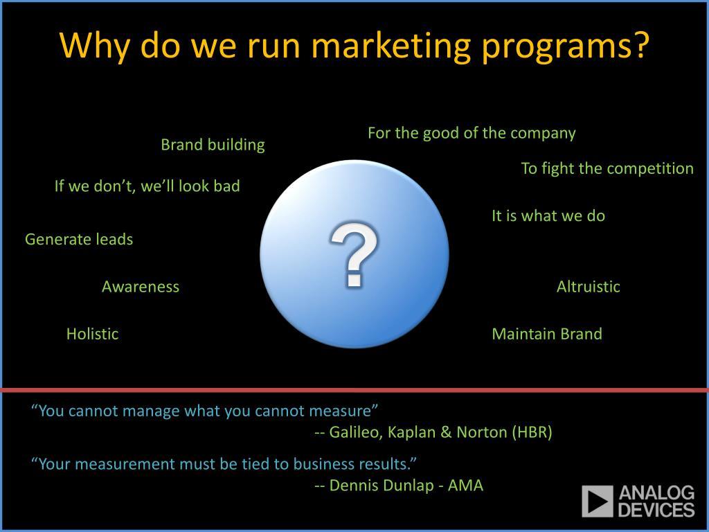Why do we run marketing programs?
