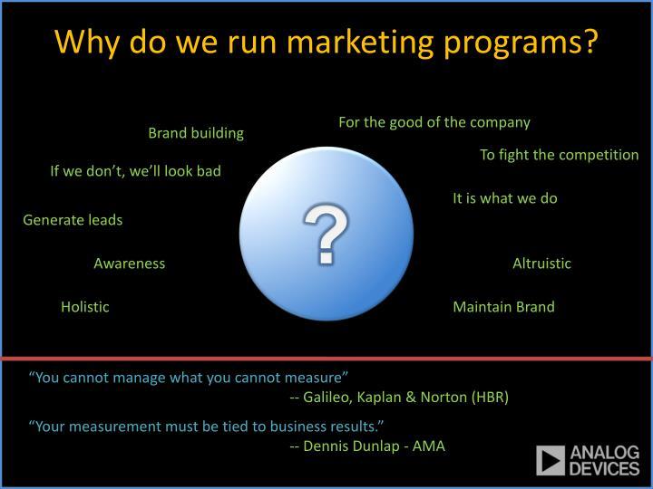 Why do we run marketing programs