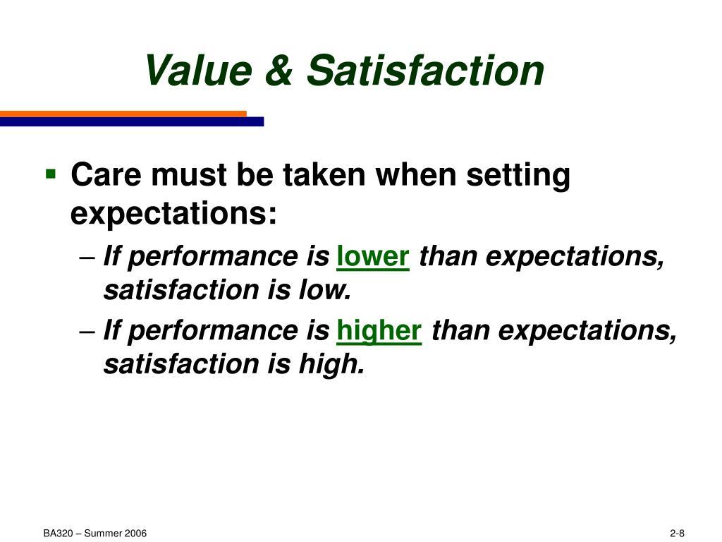 Value & Satisfaction