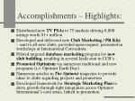 accomplishments highlights