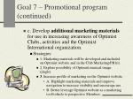 goal 7 promotional program continued24