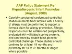 aap policy statement re hypoallergenic infant formulas august 2000141