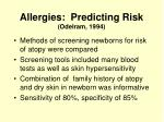 allergies predicting risk odelram 1994