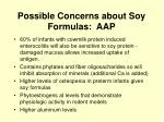 possible concerns about soy formulas aap