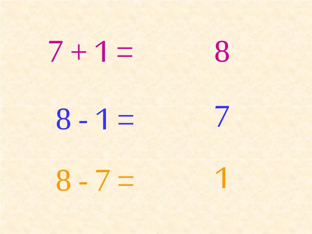 7 + 1 =