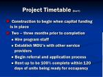 project timetable con t