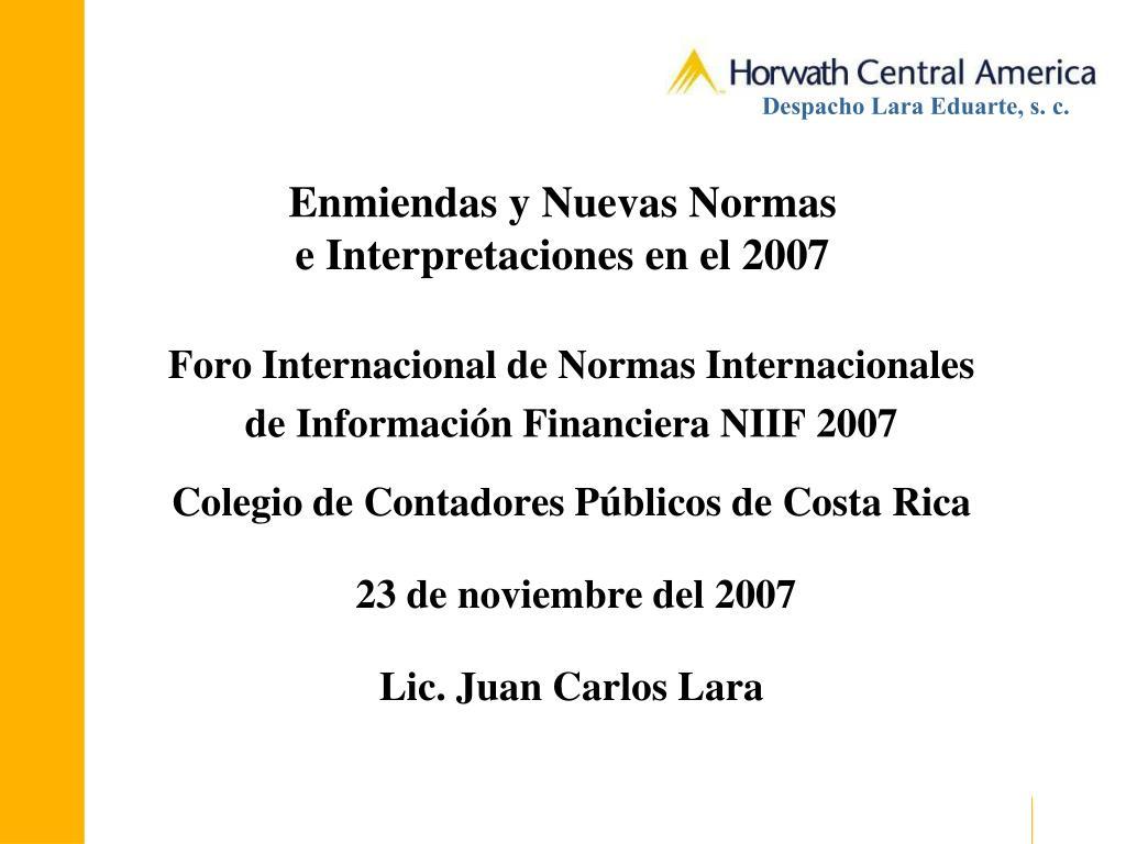 enmiendas y nuevas normas e interpretaciones en el 2007 l.