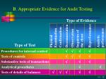 b appropriate evidence for audit testing