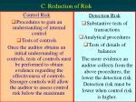 c reduction of risk