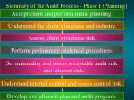 summary of the audit process phase i planning