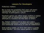 lessons for developers