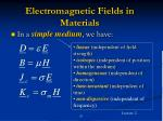 electromagnetic fields in materials31