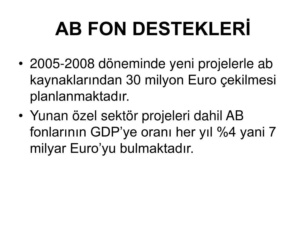 AB FON DESTEKLERİ