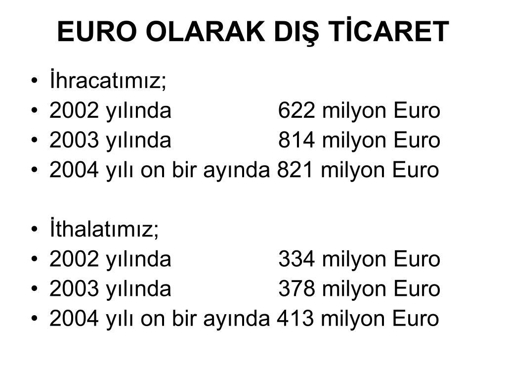 EURO OLARAK DIŞ TİCARET