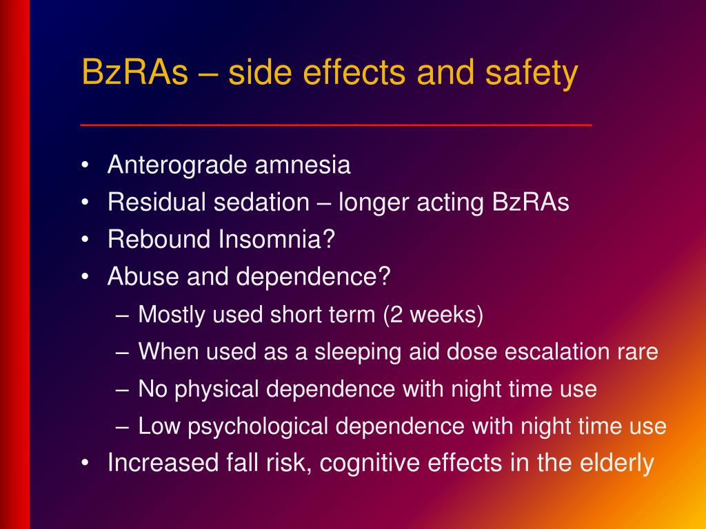 BzRAs – side effects and safety