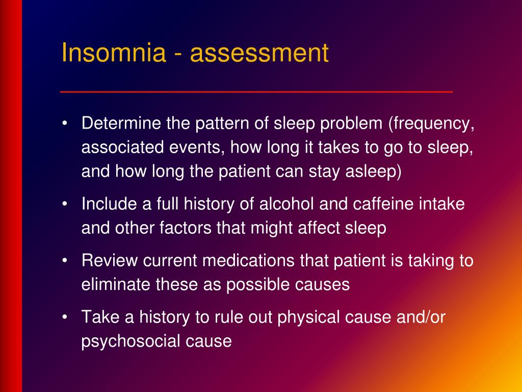 Insomnia - assessment