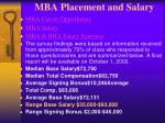 mba placement and salary