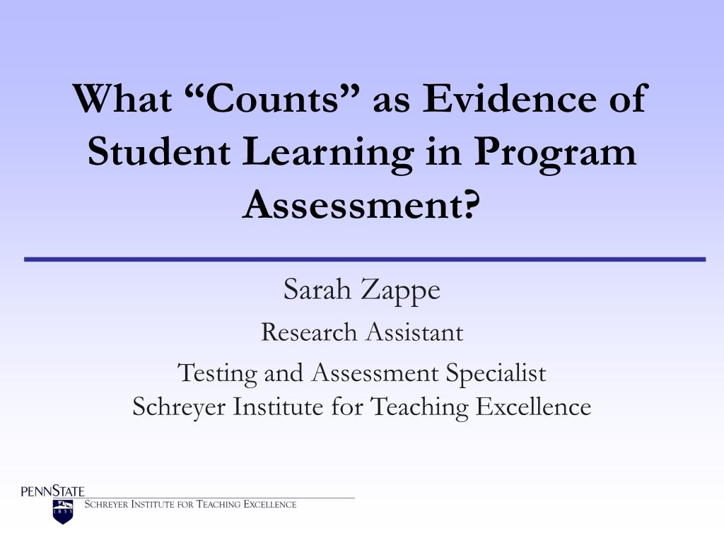 what counts as evidence of student learning in program assessment l.