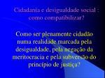 cidadania e desigualdade social como compatibilizar