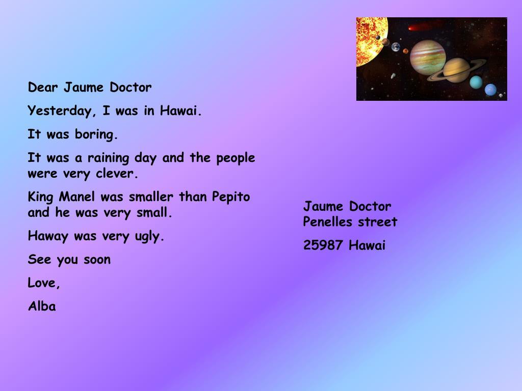 Dear Jaume Doctor