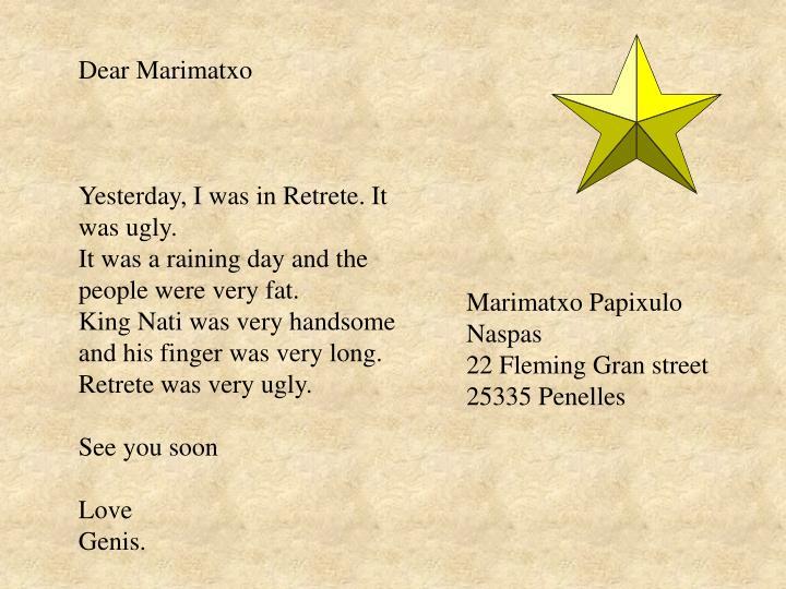 Dear Marimatxo