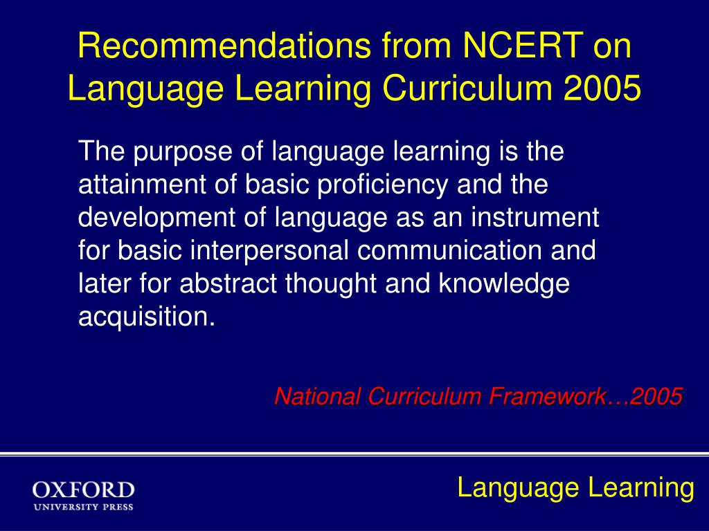 recommendations from ncert on language learning curriculum 2005 l.