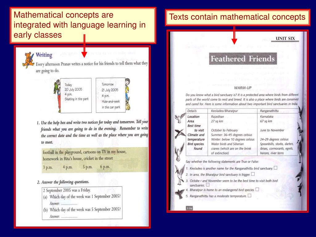 Mathematical concepts are integrated with language learning in early classes