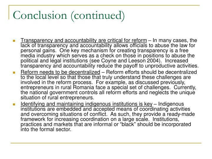 entrepreneurship conclusion Entrepreneurship development in india: a new  entrepreneurship is the cause for the economic development  iv conclusion the recent policy.