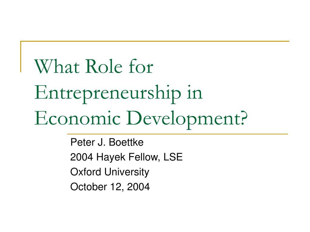 what role for entrepreneurship in economic development l.
