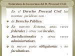 naturaleza de las normas del d procesal civil