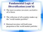fundamental logic of diversification cont d