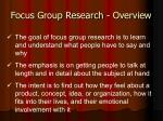focus group research overview
