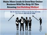make more leads grow your online business with the help of this amazing list building method
