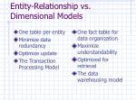 entity relationship vs dimensional models