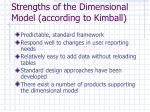 strengths of the dimensional model according to kimball