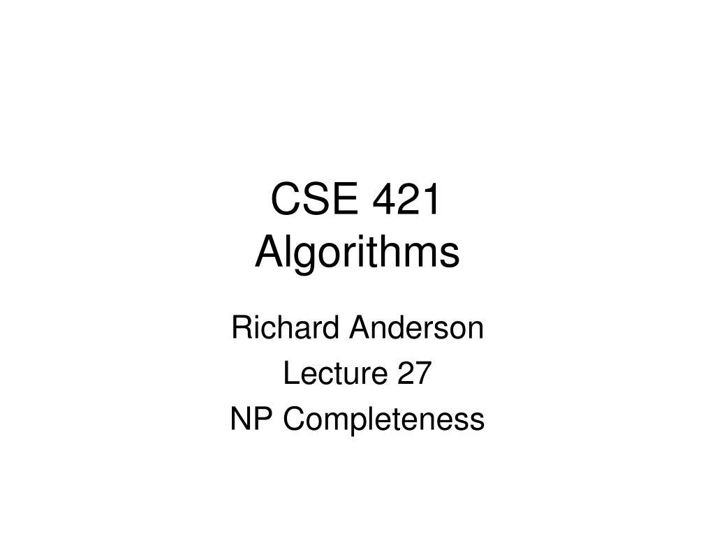 cse 421 algorithms l.